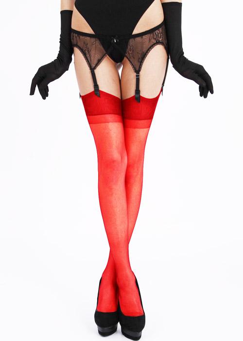 Bas nylon rouge